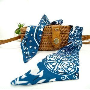 Blue Bandana Print Twilly Purse Head Neck Scarf